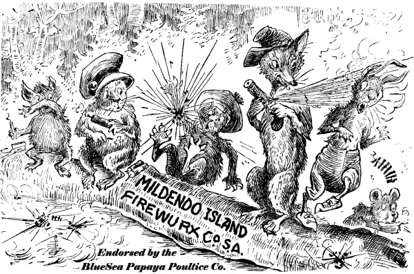 Mildendo Island fireworks promotion (circa 1920) (Careless kids with fireworks) - concept & art (likely) by Palmer Cox
