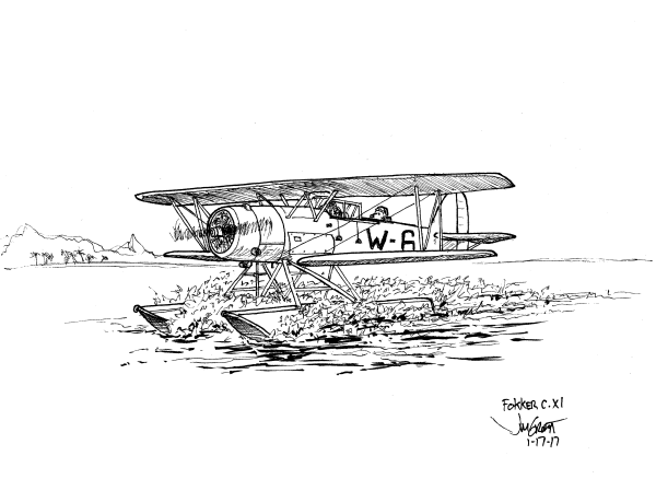 Fokker C.XI-W reconnaissance floatplane, circa 1935. (Used by the Netherlands Navy) - by Jim Groat