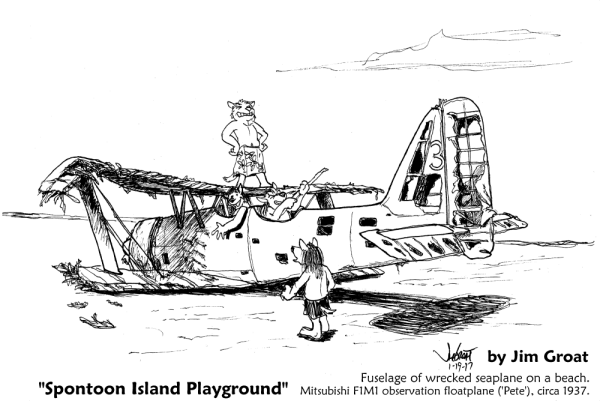 """Spontoon Island Playground"" - wrecked floatplane Mitsubishi F1M1 ('Pete') on a Spontoon Island beach - by Jim Groat"