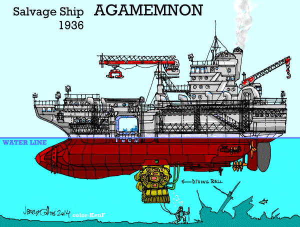 "Salvage Ship ""Agamemnon"" (with diving bell) (small format) - by Jerry Collins"