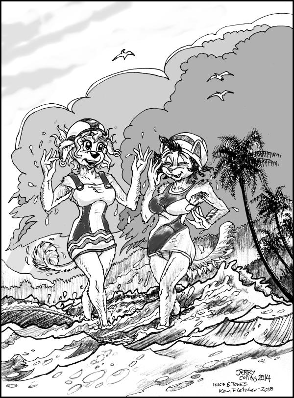 """After Beach Showers"" (2 Euro females in circa 1935 swim-suits) - by Jerry Collins - inks & tones by Ken Fletcher"