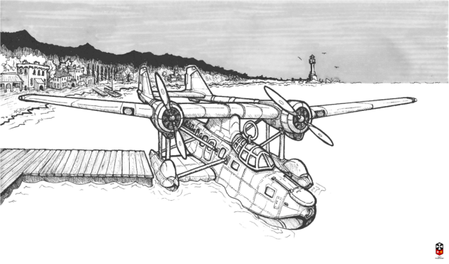 """Passenger Amphibian"" (seaplane) from the ""Atlantic Republic"" shared dieselpunk setting - by Yuri Milovidov"